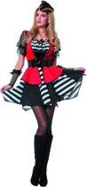 Piraat & Viking Kostuum | Woeste Zee Pirate Streep Zwart / Wit | Vrouw | Maat 38 | Carnaval kostuum | Verkleedkleding