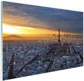 Skyline parijs bij zonsondergang Glas 60x40 cm - Foto print op Glas (Plexiglas wanddecoratie)
