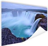 Een grote ronde waterval in IJsland Poster 90x60 cm - Foto print op Poster (wanddecoratie woonkamer / slaapkamer)