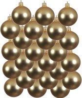 24x Gouden glazen kerstballen 6 cm - Mat/matte - Kerstboomversiering goud