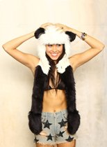 KIMU hood panda muts met sjaal, wanten en oortjes - faux fur zwart wit bont berenmuts bontmuts flappen capuchonmuts spirit -