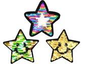 Strijk embleem 'Deluxe sterren paillet omkeerbaar set (3)' – stof & strijk applicatie