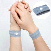 2 x Anti Misselijkheid Bandjes - Anti Wagenziek - Bandjes tegen Wagenziekte - Acupressuur Polsbandjes - Reisziekte Preventie - Kinderen - Grijs