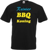 Mijncadeautje T-shirt BBQ Koning met voornaam  Heren ZWART (maat L)