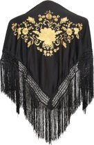 Spaanse manton - omslagdoek - voor kinderen - zwart goud - bij Flamencojurk