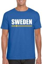 Blauw Zweden supporter t-shirt voor heren - Zweedse vlag shirts L