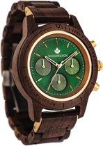 De officiële WoodWatch | Emerald Gold | Houten horloge heren