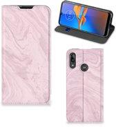 Motorola Moto E6 Plus Standcase Marble Roze