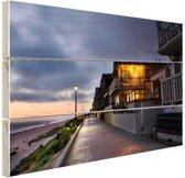 Manhattan Beach woningen LA Hout 120x80 cm - Foto print op Hout (Wanddecoratie)