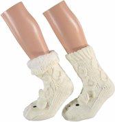 Dames huissokken kabel met 3D beer wit - antislip sokken/ slofsokken