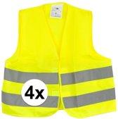 4x Gele veiligheidsvesten voor kinderen