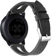 Bandje leer double zwart geschikt voor Samsung Galaxy Watch 42mm en Galaxy Watch Active