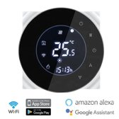 Slimme Thermostaat - WiFi Thermostaat - Bediening via App - Ondersteunt Google Home (Google Assistant) Amazon Alexa – Ook voor vloerverwarming -  Smart Thermostaat – CV ketel - Zwart - Monvelli