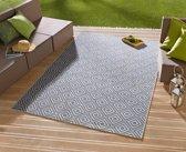 Binnen & buiten vloerkleed ruiten Karo - blauw/crème 80x150 cm