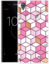Sony Xperia XA1 Plus Hoesje Pink-gold-white Marble