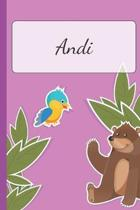 Andi: Personalized Name Notebook for Girls - Custemized with 110 Dot Grid Pages - A custom Journal as a Gift for your Daught