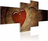 Schilderij - Oude liefde roest niet - 4 luik , rood bruin