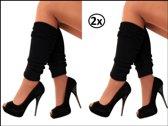 2x paar beenwarmers zwart