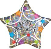 Folieballon Happy Birthday Stars 45cm