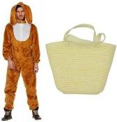 Paashaas verkleedpak maat 54 (XL) met mandje voor volwassenen - Konijn/haas kostuum
