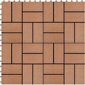 vidaXL 11 st Terrastegel 30x30 cm 1 m² HKC bruin