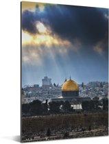De zonnestralen schijnen op de stad Jeruzalem in Israël Aluminium 60x90 cm - Foto print op Aluminium (metaal wanddecoratie)