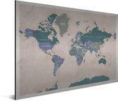 Vintage Wereldkaart Aluminium Oud Roze 90x60 cm | Wereldkaart Wanddecoratie Aluminium