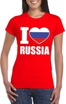 Rood I love Rusland fan shirt dames S
