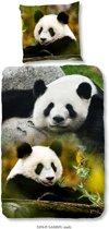 Good Morning - Dekbedovertrek - Sammy - Panda Beren - Eenpersoons - 140x200/220 100% Katoen - Zwart/Wit/Multi