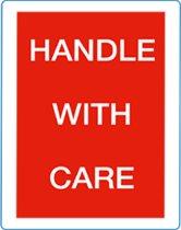 Waarschuwings etiket Handle with care, 100x70mm 500 etik/rol