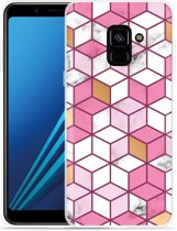 Samsung Galaxy A8 2018 Hoesje Pink-gold-white Marble