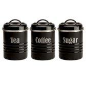 Typhoon Vintage - Set van 3 Voorraadblikken - Thee, Koffie en Suiker - Zwart