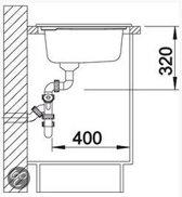Keramisch spoelbak Blanco Axon II 6 S Opbouw 516553 Basalt. Draaiknopbediening. Links