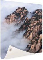 Mist in de bergen Tuinposter 40x60 cm - klein - Tuindoek / Buitencanvas / Schilderijen voor buiten (tuin decoratie)