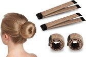 Magic Bun Maker | Set - 2 stuks + Haarelastiek | Lichtbruin | Maak De Perfecte Knot | Fashion Favorite