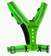 Bee Seen – GREEN - Verlichting - Led Harness - USB - LED - one size - Hardloopvest - Jogging reflectie vest - Hardloopverlichting