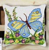kruissteekkussen 33050 vlinder met bloemen