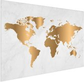 Wereldkaart Goud Marmer Aluminium Wanddecoratie 80x60 cm
