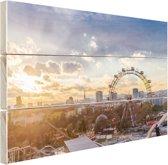 Zonsondergang bij het Wiener Riesenrad Hout 80x60 cm - Foto print op Hout (Wanddecoratie)