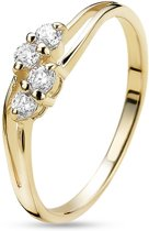 Twice As Nice ring in 18kt plaqué goud, 4 zirkonia Wit 56