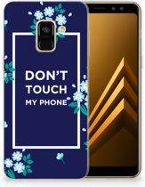 Samsung Galaxy A8 (2018) TPU Hoesje Flowers Blue DTMP