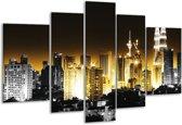 Glasschilderij Steden | Geel, Zwart, Grijs | 170x100cm 5Luik | Foto print op Glas |  F003049