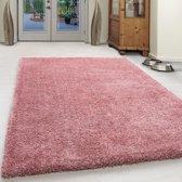 Hoogpolig shaggy vloerkleed - Milan 120x170 Roze 4 CM