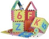 relaxdays speelkleed 86 delen - puzzelmat - letters en cijfers - speelmat - speeltapijt