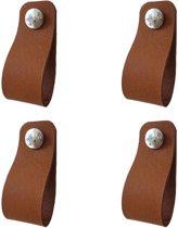 Set van 4 leren lussen / handgrepen Cognac Breedtemaat S 2,5x14cm
