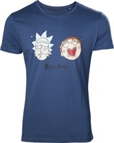 Rick and Morty Wasted Faces T-Shirt Blauw, Maat:  S