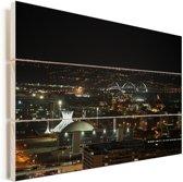 Skyline van het Zuid-Amerikaanse Brasília in de nacht Vurenhout met planken 90x60 cm - Foto print op Hout (Wanddecoratie)