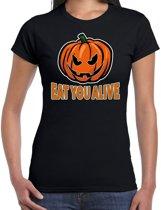 Halloween -  Halloween Eat you alive verkleed t-shirt zwart voor dames - horror pompoen shirt / kleding / kostuum XL