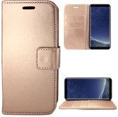 Samsung Galaxy S8 Hoesje Lederen Bookcase met Siliconen TPU Telefoonhouder - Rose Goud - van iCall