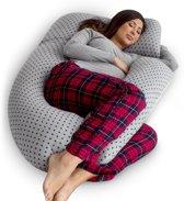 Zwangerschapskussen / voedingskussen - U vorm | Grijs met sterretjespatroon